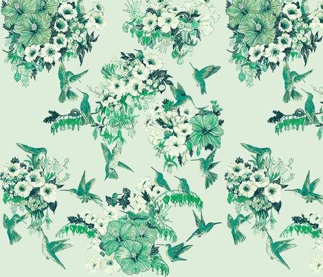 Humming Bird In Spring Green fabric by azureelizabethdesign on Spoonflower - custom fabric
