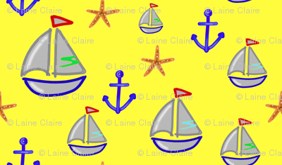 Boat, anchor and starfish on yellow background - Bateau ancre & étoiles de mer sur fond jaune (1)