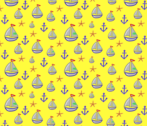 Boat, anchor and starfish on yellow background - Bateau ancre & étoiles de mer sur fond jaune (1) fabric by meloxiane on Spoonflower - custom fabric