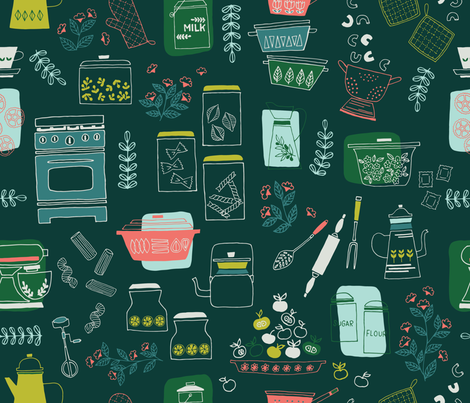 Vintage Kitchen fabric by ldpapers on Spoonflower - custom fabric