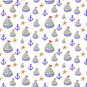 Boat, anchor and starfish - Bateau ancre & étoiles de mer