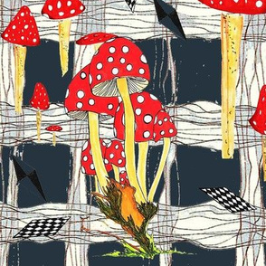 Toadstools & Diamonds Plaid Graphite