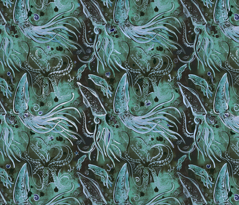 Blue Ink Rises fabric by jacquelynbizzottodesign on Spoonflower - custom fabric