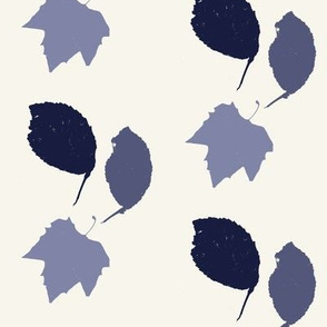 Elm + maple leaves, in Prussian Blue monochrome off-white by Su_G