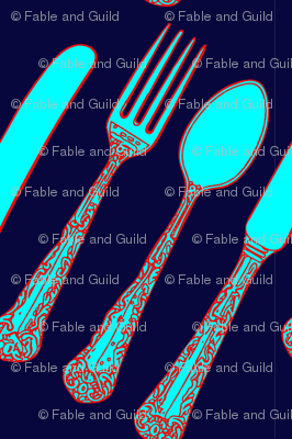 Knife Fork Spoon Inky Blue