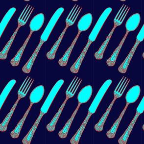 Knife Fork Spoon Inky Blue