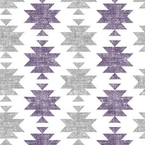 modern aztec || woven purple and grey