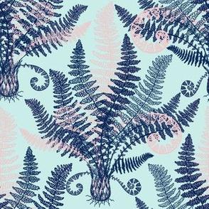 Peach-Navy Ferns (mint)