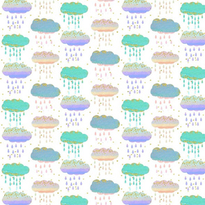 Watercolor Clouds and Rain