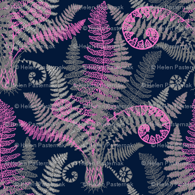 Pink-Grey Ferns (navy)