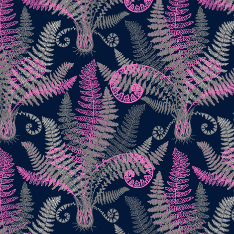 Pink-Grey Ferns (navy) fabric by helenpdesigns on Spoonflower - custom fabric