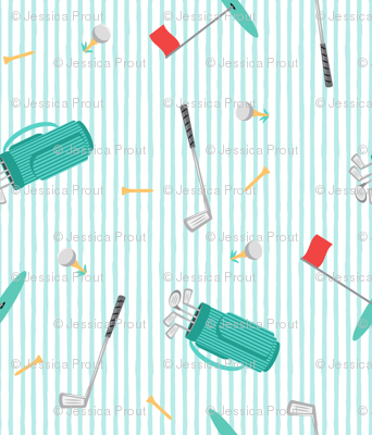 tee time - golf themed fabric