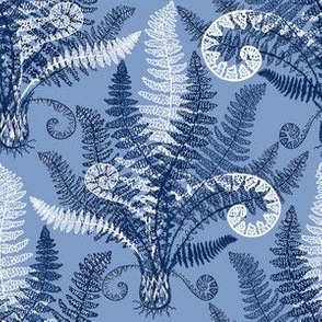 White-Navy Ferns (serenity blue)