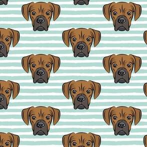 boxers on dark mint stripes - dog fabric