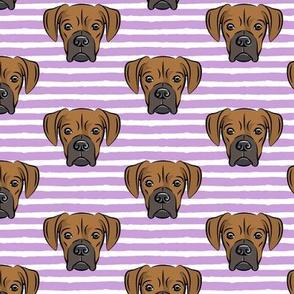 boxers on purple stripes - dog fabric