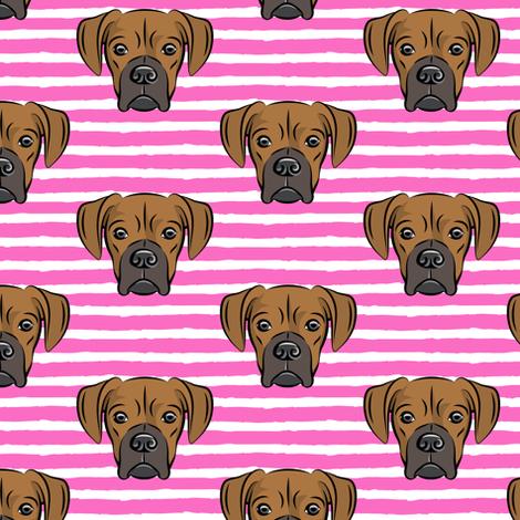 boxers on dark pink stripes - dog fabric fabric by littlearrowdesign on Spoonflower - custom fabric