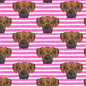 boxers on dark pink stripes - dog fabric