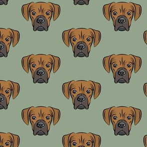 boxers on sage - dog fabric
