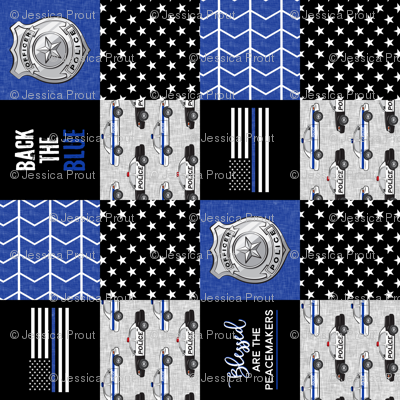 """(3"""" small scale)  Police Patchwork - Blessed are the peacemakers - thin blue line - back the blue wholecloth (90)"""
