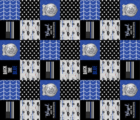 """(3"""" small scale)  Police Patchwork - Blessed are the peacemakers - thin blue line - back the blue wholecloth (90) fabric by littlearrowdesign on Spoonflower - custom fabric"""
