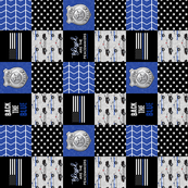 "(3"" small scale)  Police Patchwork - Blessed are the peacemakers - thin blue line - back the blue wholecloth (90)"