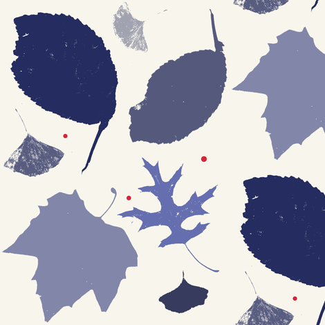 Elm, Gingko, Maple, Plane: leaves with berries by Su_G fabric by su_g on Spoonflower - custom fabric