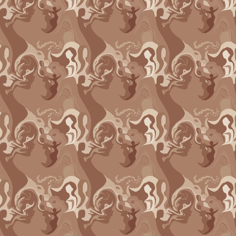 L'affascinante Ragazza in Cocoa Brown and Beige fabric by maryyx on Spoonflower - custom fabric
