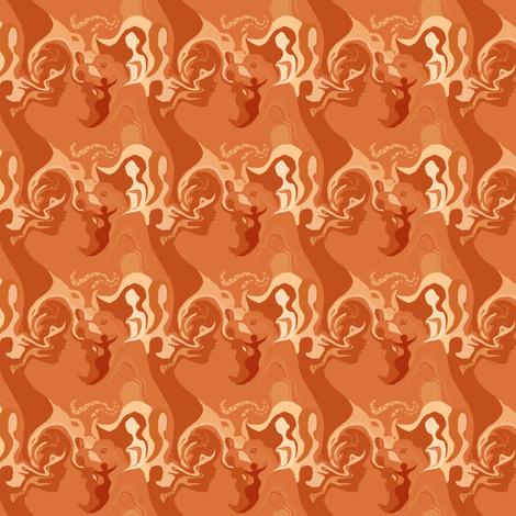 L'affascinante Ragazza in Rusty Orange Monochrome fabric by maryyx on Spoonflower - custom fabric