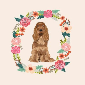 8 inch cocker spaniel wreath florals dog fabric