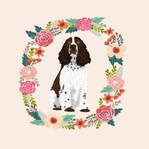 8 inch english springer spaniel wreath florals dog fabric
