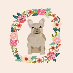 8 inch frenchie french bulldog fawn wreath florals dog fabric