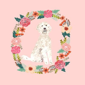 8 inch golden doodle wreath florals dog fabric