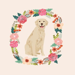 8 inch golden retriever wreath florals dog fabric