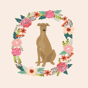 8 inch greyhound wreath florals dog fabric