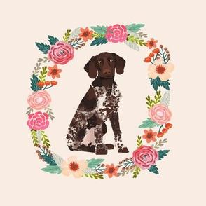 8 inch german shorthair pointer wreath florals dog fabric