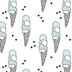 Hot summer blue pistaccio mint ice cream cone popsicle summer design print for kids