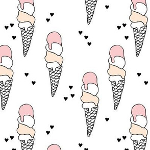 Hot summer pink peach gender neutral strawberry apricot ice cream cone popsicle summer design print for kids