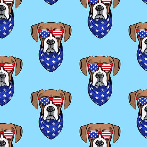 patriotic boxer on blue fabric by littlearrowdesign on Spoonflower - custom fabric