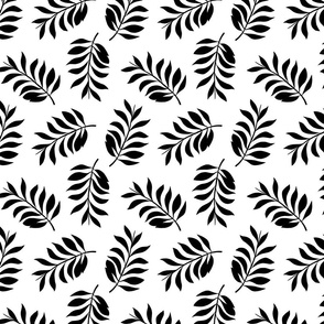Palm spring leaves sweet minimal botanical garden summer design black and white