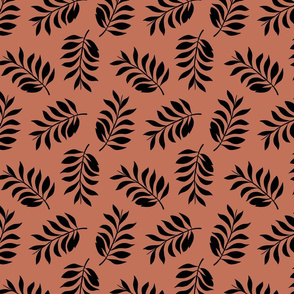 Palm spring leaves sweet minimal botanical garden summer design copper rusty brown