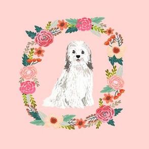 8 inch havanese wreath florals dog fabric