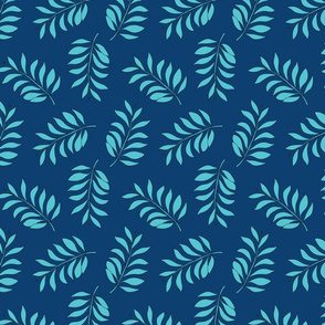 Palm spring leaves sweet minimal botanical garden summer design navy blue