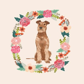 8 inch irish terrier wreath florals dog fabric