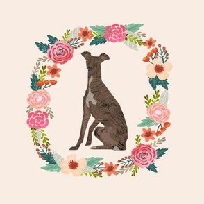 8 inch italian greyhound wreath florals dog fabric