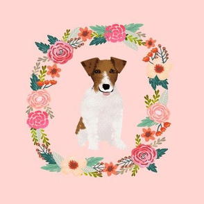 8 inch jack russell wreath florals dog fabric