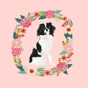 8 inch japanese chin wreath florals dog fabric
