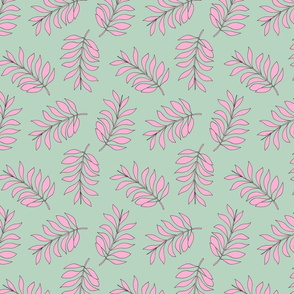 Palm spring leaves sweet minimal botanical garden summer design mint pink