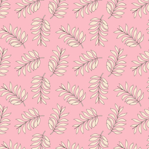 Palm spring leaves sweet minimal botanical garden summer design peach pink pastels