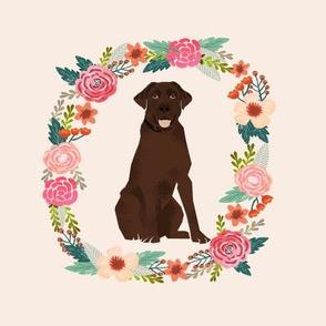 8 inch chocolate lab wreath florals dog fabric
