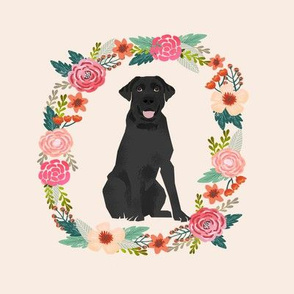 8 inch black lab wreath florals dog fabric